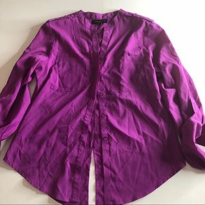 Sanctuary fuchsia button up shirt split hem